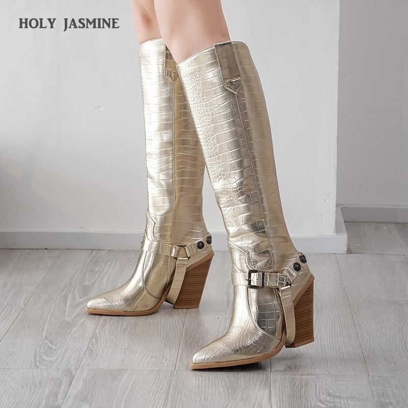 الركبة أسود أبيض أصفر أحذية عالية الغربية أحذية رعاة البقر للمرأة الشتاء الطويلة المدببة تو راعية البقر الأوتاد للدراجات النارية
