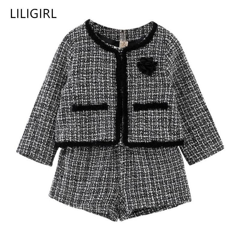 Bebek Kız İyi Kalite Eşofman Kostüm Y200829 için LILIGIRL Çocuk Kız Mizaç Giyim Seti 2020 Yeni Ekose Ceket + Şort 2adet Suit