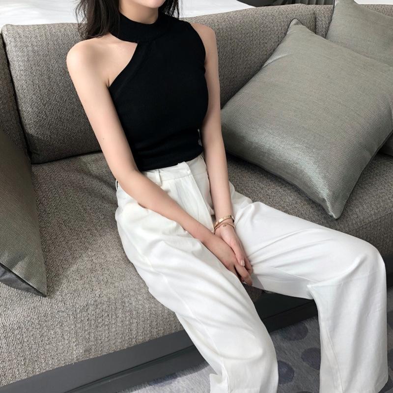 Frühling und Top-koreanischen sleeveless chicshoulder Frauen gestrickte Weste Ansatz dünne Unterseitenhemd Straps Leibchen Top Weste Sommer VcyLj