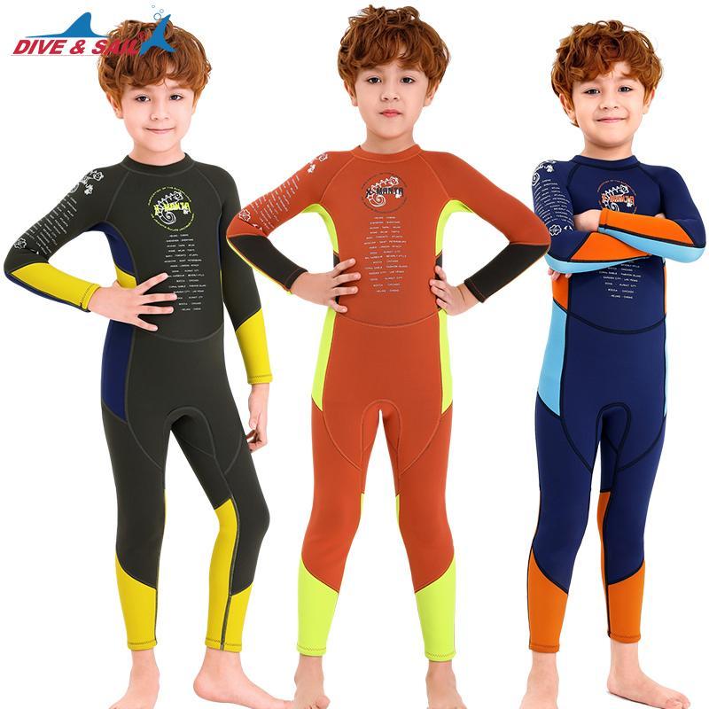 Boy wetsuit, thermique pleine 2.5mm néoprène Wetsuit Protection contre le soleil maillot de bain à séchage rapide One Piece manches longues vêtements isothermiques Maillot de bain complète