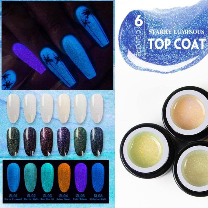 6 цветов Звездное Luminous Top Coat Гель лак для ногтей Soak Off UV водить Световая лак DIY Nail Art
