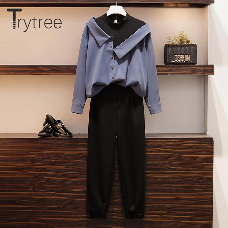 Tute da donna Trytree 2021 Primavera Autunno Donne Due Piece Set Casual O-Neck Patchwork 2 Top Colore + Pantaloni Vita elastica solida