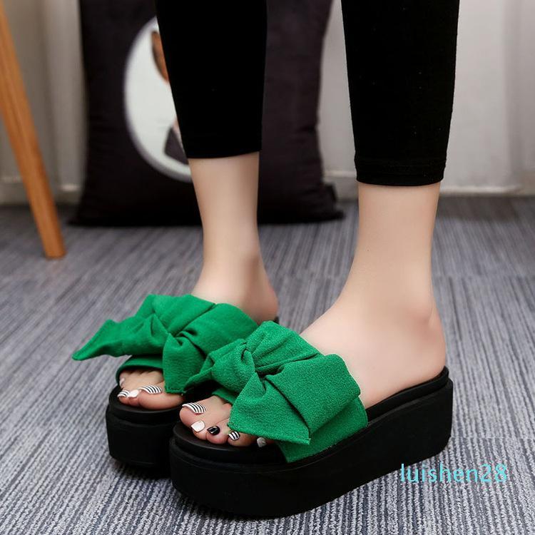 2019 Slippers L28 del Muffin fondo spesso pantofole femminile Bow One Word pistoni di svago delle donne