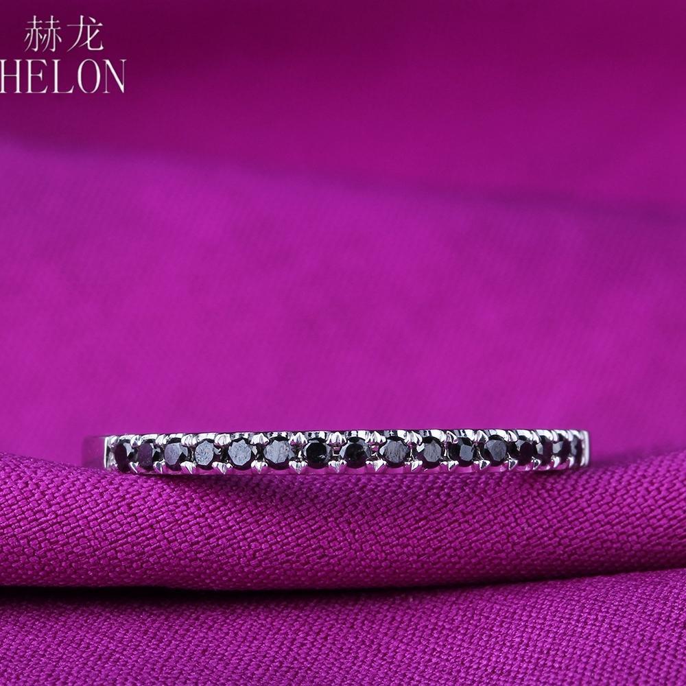 Helon Prata 925 Pave 100% Genuine Black Diamond Banda Estilo Exquisite Wedding Engagement Mulheres Trendy Fine Jewelry Anel T200905