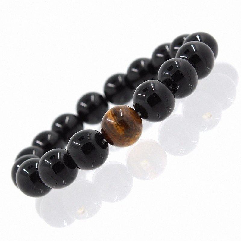 2017 braccialetti all'ingrosso di modo della lega del metallo Bilanciere Nero Nero onice naturale Perline di pietra Stretch regalo Uomini Donne Yoga Bracciale tOoA #