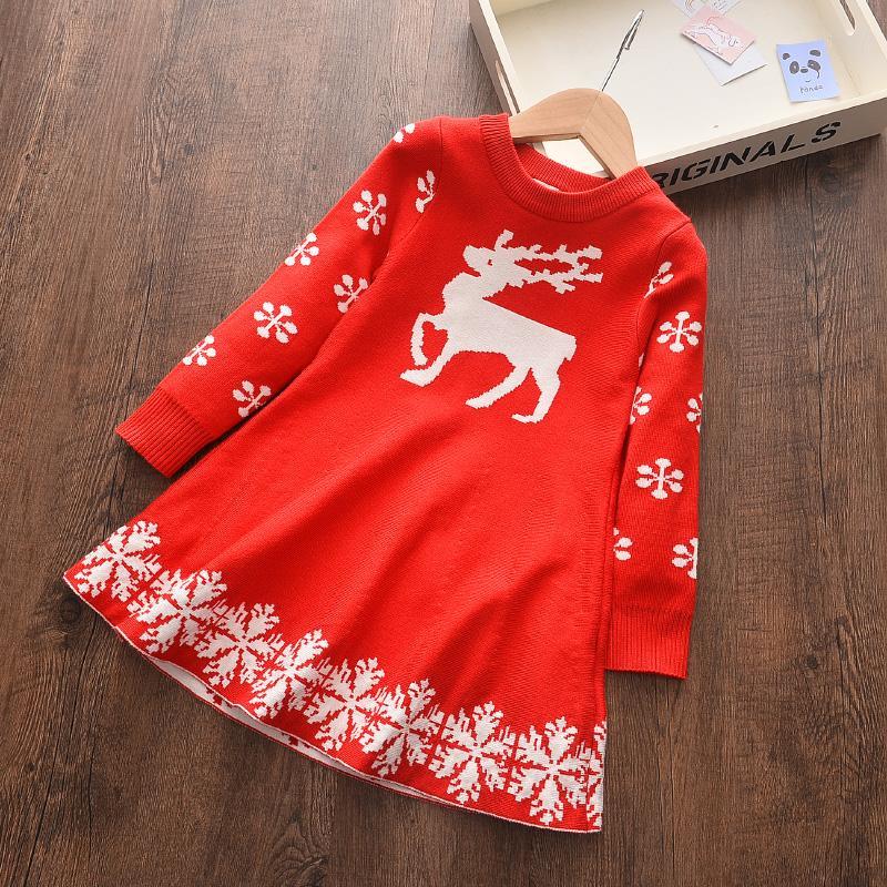 Küçük kızlar Süveter 2020 Çocuk Elbise Kış Çocuk Triko Çocuk Elbise İçin Kız Casual Bebek Noel Dress
