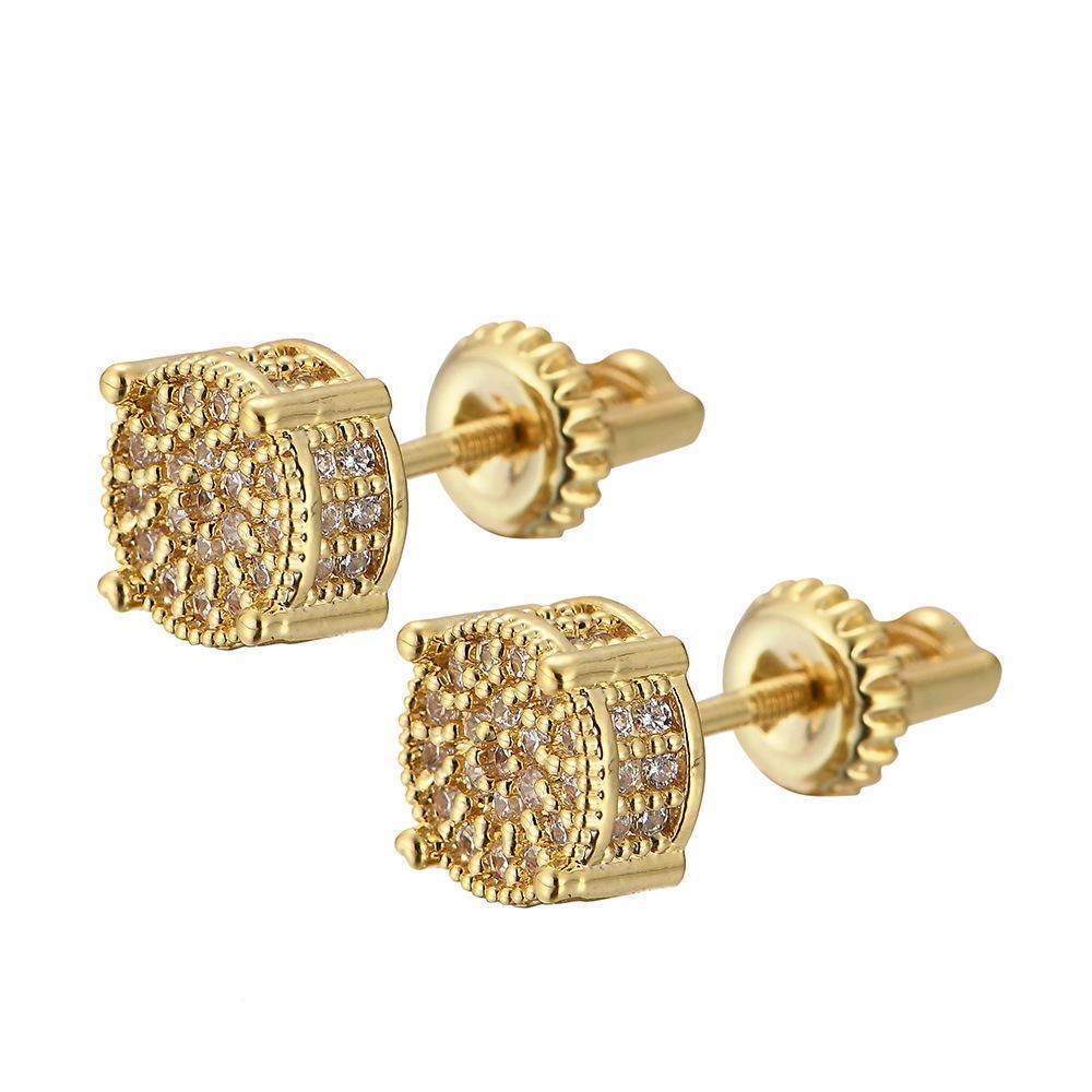 Bellezza Brillante Cerchio di disegno del diamante epoca antica acciaio chirurgico della vite Orecchino Elegante Ear lucido zircone femminile Stud
