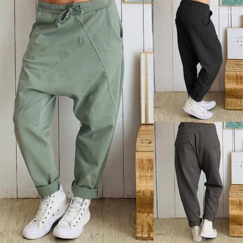 Más el tamaño de pantalones de cordón mediados de cintura floja Hombre largos ocasionales sólidos pantalones de color Homme para hombre Pantalones Harem