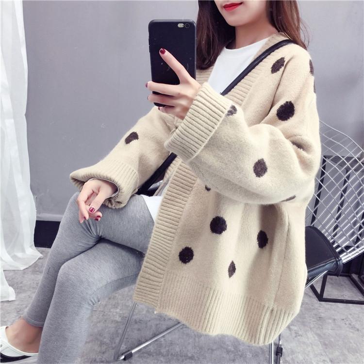 8t8RS 2020 Brasão outono e cardigan New coreano casaco estudante inverno camisola camisola solta vento preguiçoso estilo top ponto onda das mulheres de malha