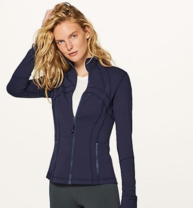 yoga Veste sport lou manteau de yoga serré femmes Vêtements femme zip poches de fermeture course veste de sport mince veste décontractée de fitness