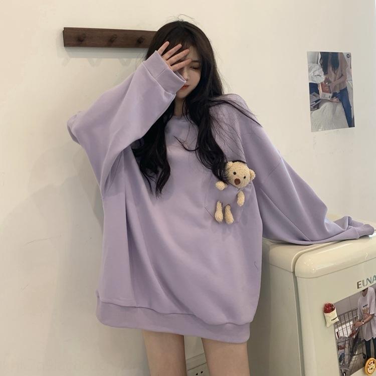 AXt82 26RTj Kore ayı Top'un kazak Dongdaemun gündelik cebi üç boyutlu üst uzun sweaterstyle kadın yaz yeni zarif yuvarlak manşon