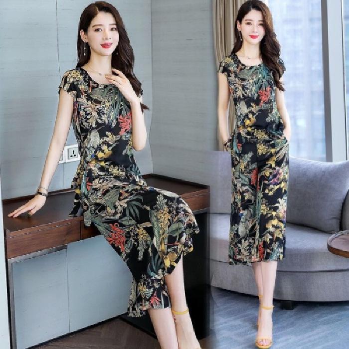 traje kEm2N vRR1U Impreso de moda las mujeres de Corea 2020 verano nuevo estilo de alta cintura que adelgaza ocasional de dos piezas pantalones anchos de la pierna de los pantalones de pierna ancha SU