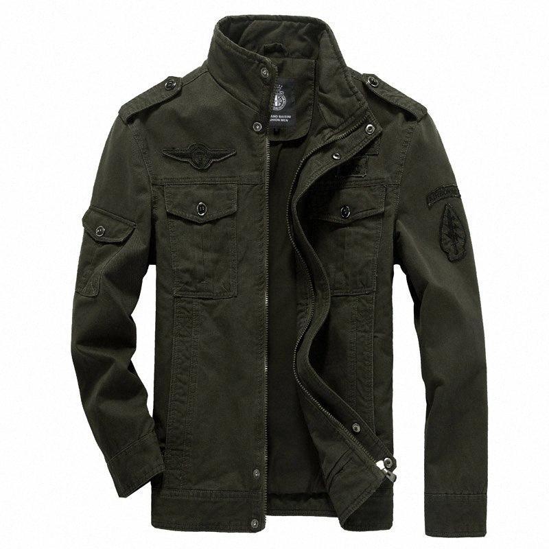 Chaqueta de algodón para hombres 2019 Escudo del resorte del otoño Soldado Estilo bombardero chaquetas para hombre de las chaquetas Hombre Marca más el tamaño M 6XL Cuero Negro Jack JbQK #