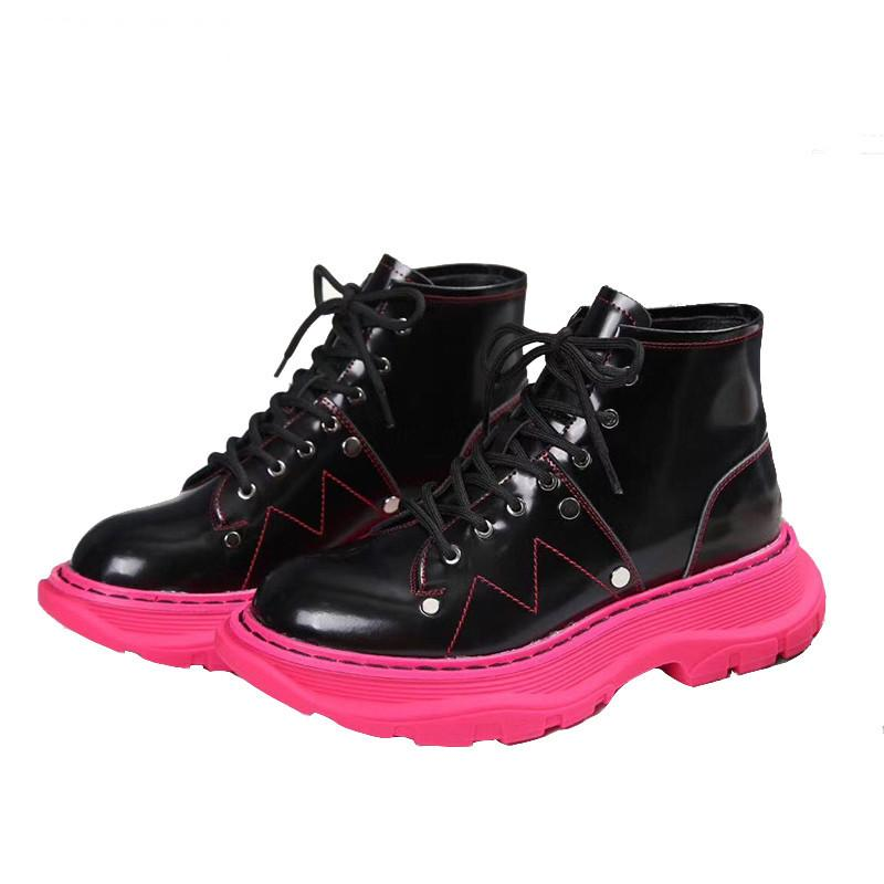 Британский стиль розовая подошва обувь женщин мода натуральная кожа черная белая платформа обувь повседневная зимние ботинки