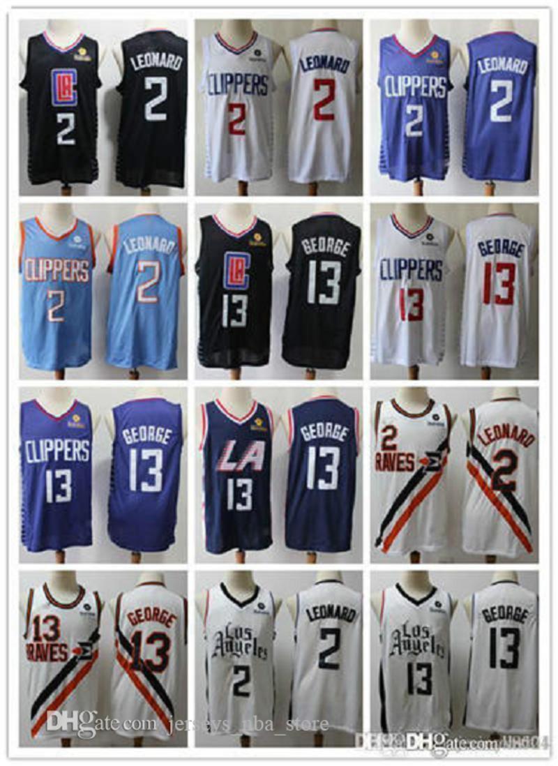 Para hombre de Los ÁngelesTijerasHombres Paul George 13 Baloncesto Pantalones cortos Kawhi 2laNBA Leonard camiseta de baloncesto blanco negro azul marino