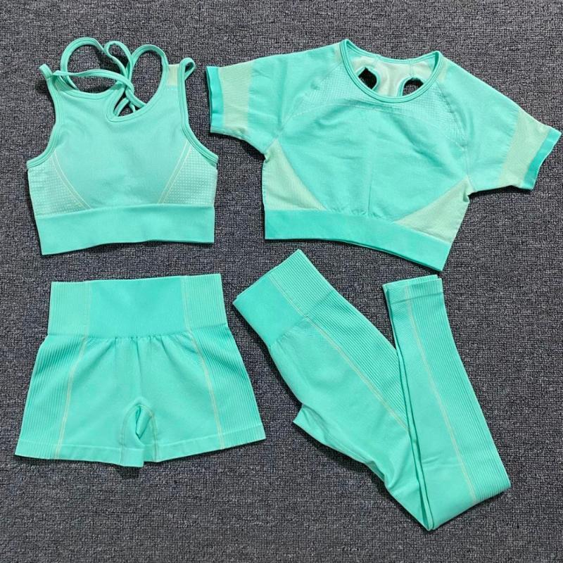 Yoga Wear 4 Piezas sin fisuras de cultivos fijaron a las mujeres de manga corta tops + Bra pantalón corto deportivo gimnasia de los deportes polainas Entrenamiento Sport traje