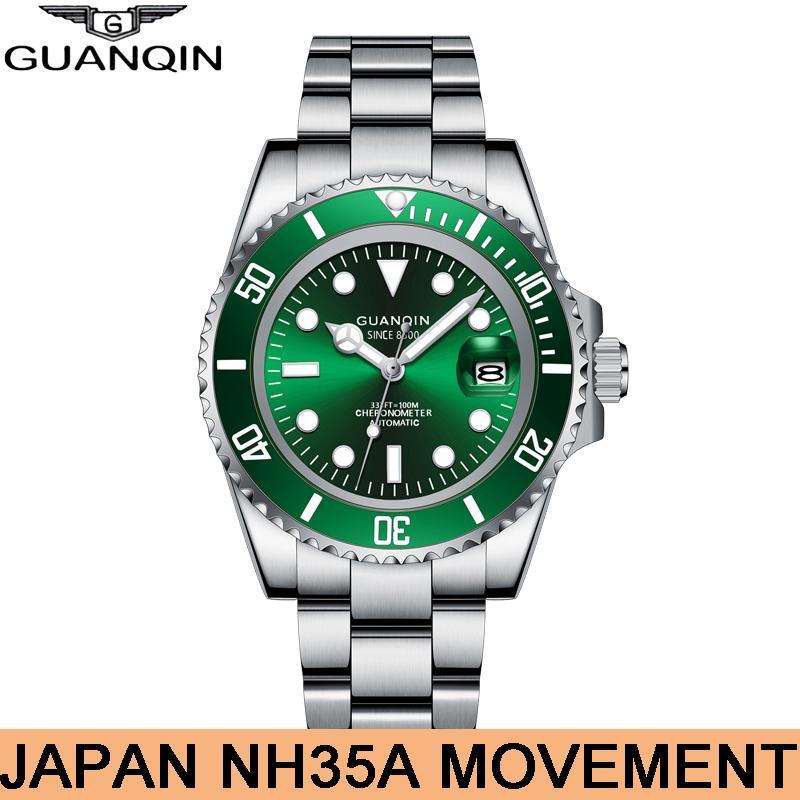 GUANQIN Diving Guarda 10Bar automatico dello zaffiro uomini meccanici della vigilanza impermeabile Giappone movimento NH35A Calendario luminoso Orologi T200812