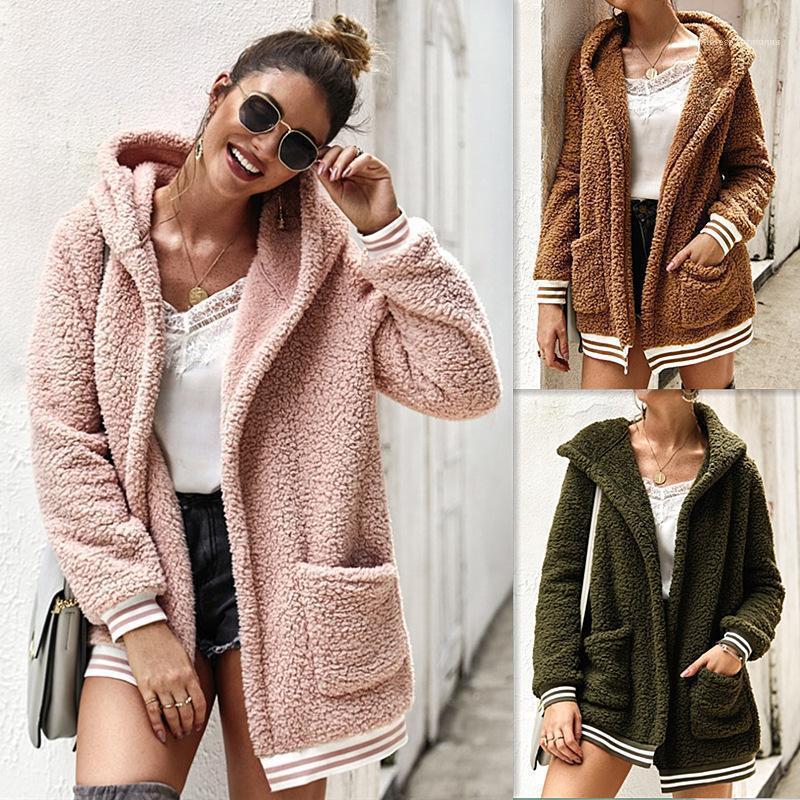 Coats Kadın Sonbahar Cepler Tasarımcı Ceket Katı Kapşonlu Uzun kollu üstler