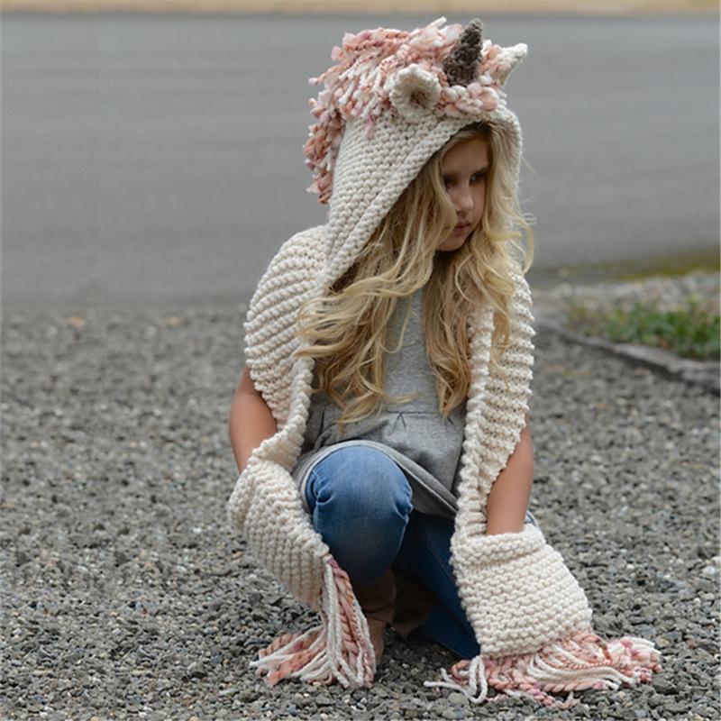 lsGc4 Kinderkarikaturbabywolle Herbst und Winter warme Mütze gestrickt hatwarm Hut Schal gestrickt
