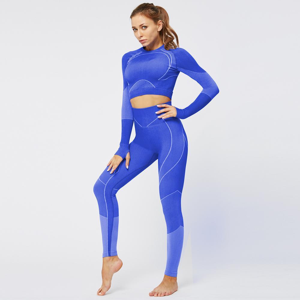 Suzk7896 marca Donne Set Yoga Sportwear Tute manica lunga Torna Hole Fitness Sport Outfits palestra indossare vestiti di yoga T-shirt di allenamento per la donna