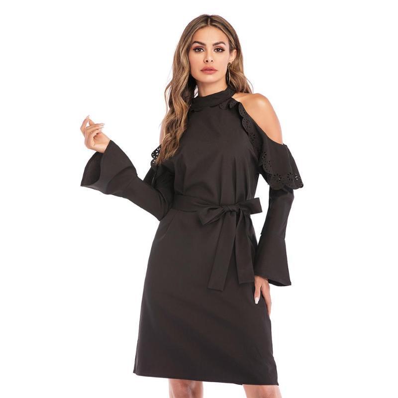 Yaz kadın sıcak satış elbise Avrupa / Amerikan stand-up yaka askısız düz renk uzun kollu yanmış çiçek bayanlar bel dre