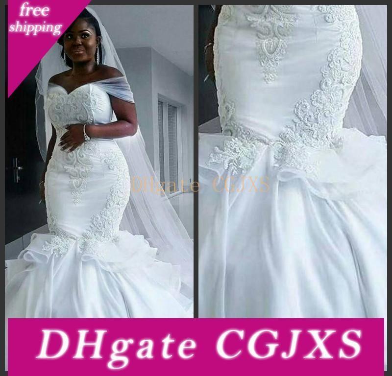 2020 Querida Vintage Africano Satin Mermaid Wedding Dresses Lace apliques Lace Up Beads mangas Plus Size Custom Made vestidos de noiva
