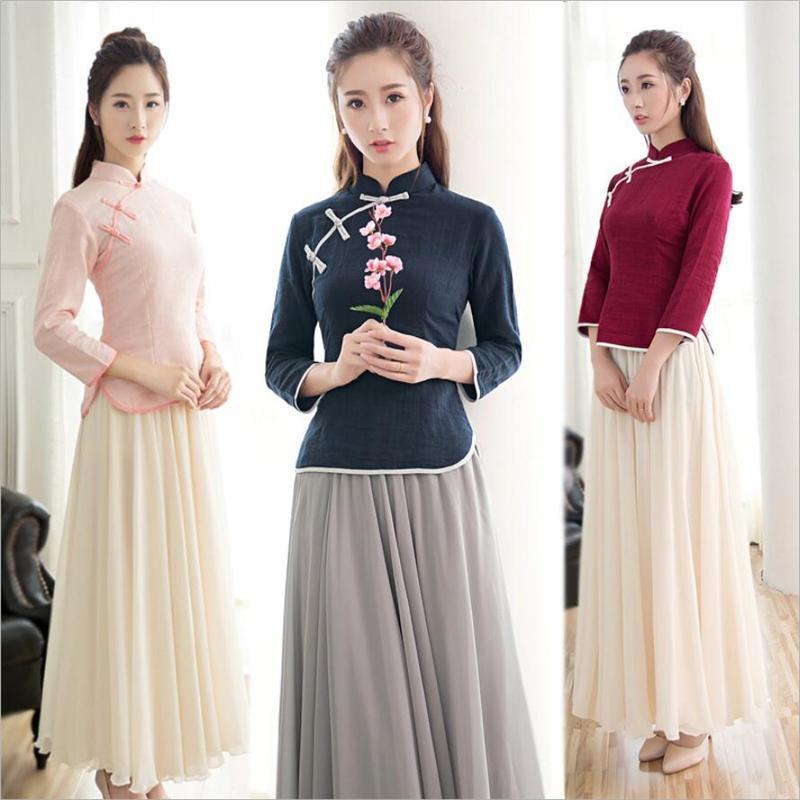 2020 Summer chino tradicional encima de la parte superior del cheongsam qipao las mujeres ropa de moda de estilo retro camisa de color rosa y el algodón más el tamaño 3XL