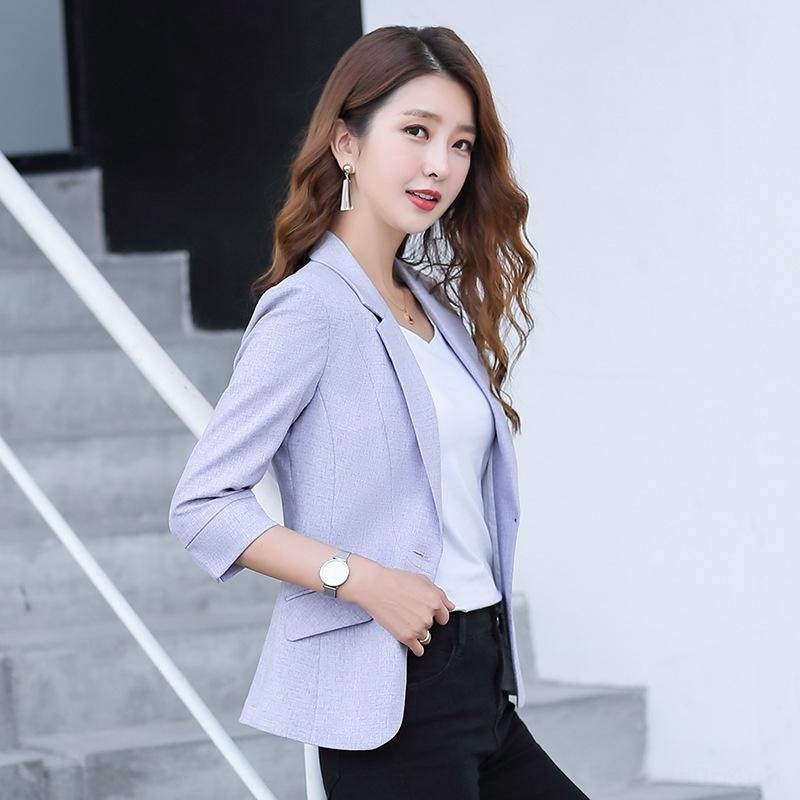 dohY8 New suit jacket small fit jacket 2020 mid-sleeve autumn slim suit casual Korean style solid color ladies