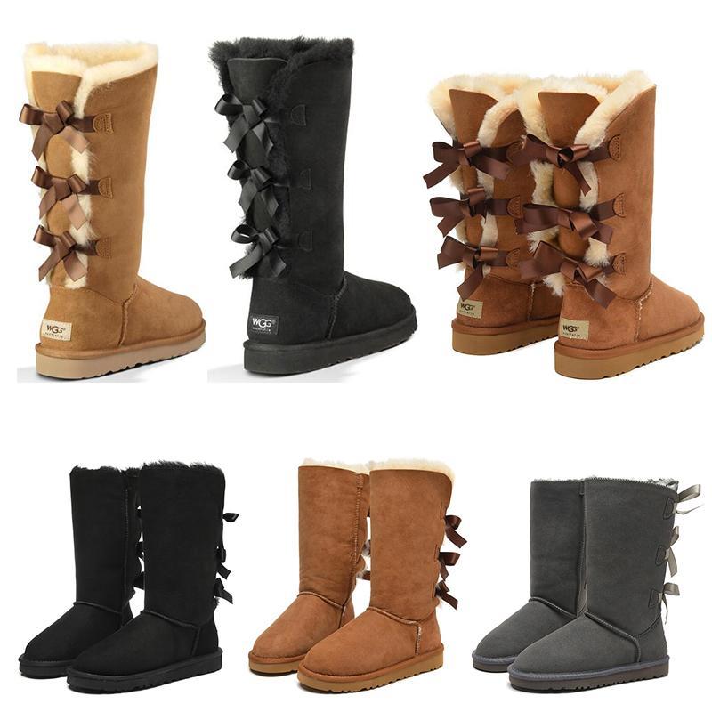 새로 여자 신발 소녀 클래식 스노우 무릎 부츠 3 활 모피 부팅 겨울 검은 gery 밤나무 여성 패션 야외 크기 5-10