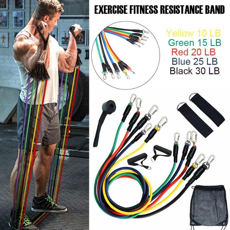 11pcs bandes de résistance Set Expander Yoga Fitness Exercice caoutchouc Tubes bande élastique formation Gymnases entraînement élastique corde Tirer