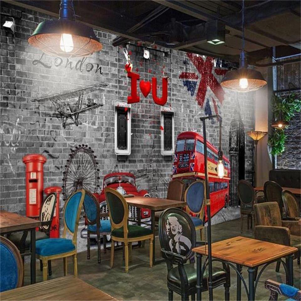 нестандартного размер 3d обои фото обои гостиная Фреска КТВА Бар кирпичная стена Британский стиль картина диван фон обои нетканая наклейка