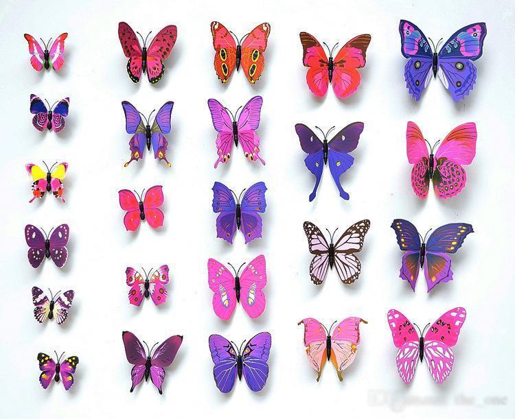 Cenicienta mariposa 3d mariposa pegatinas pared de la decoración 12pc 3d 3d mariposas mariposa PVC etiquetas engomadas desprendibles de la pared mariposas en stock
