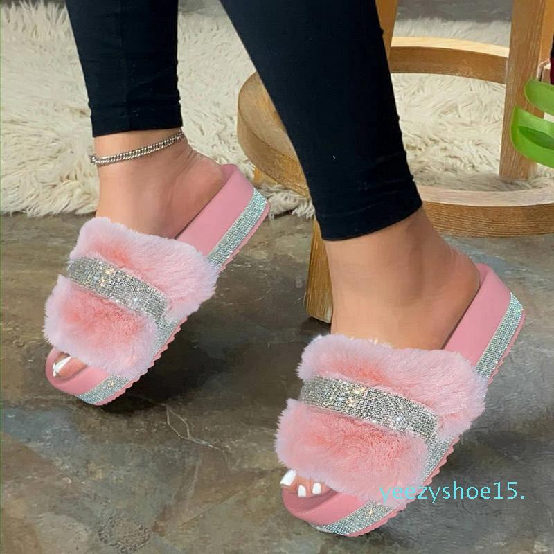 Womens pelliccia pantofole Estate Furry diapositive Femminile Fluffy Scarpe Indoor delle donne Bling sfocata diapositiva Saracinesche all'ingrosso Dropshipping Y15