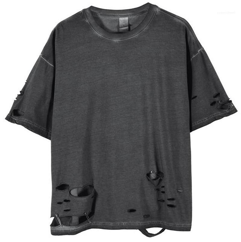 Tasarımcı Yaz Erkek tişörtleri Delikler Gri Kısa Kollu Mürettebat Boyun High Street Erkek Tees Moda Gevşek Erkek Üstleri