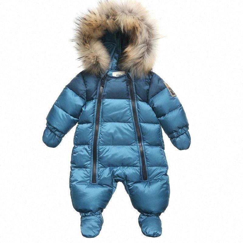 Nuevo invierno de la muchacha del niño del bebé ropa gruesa artificial caliente Mono abajo de manga larga con capucha de ropa de bebé capa de la muchacha traje para la nieve leoa #