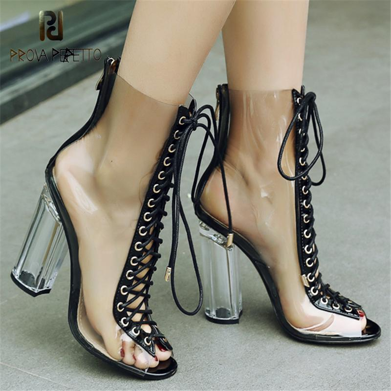 Открытый носок прозрачный каблук Peep Toe сапоги лодыжки Lace каблуки обуви Женщины Sexy Zip Коренастый Высокие каблуки Женщины Boots