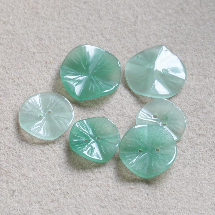 Dongling Jade Doppel-Loch Diy Knopf Schmuck Lotusblatt 20 22 25mm Schmuck DIY Jade Blume Han Bekleidungszubehör Knöpfe zJmSU