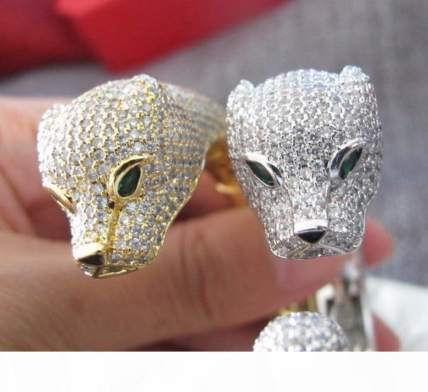 Großhandel hochwertige Designer-Manschette Voll Zirkonia gepflastert LEOPARD Armband 18K Gelbgold Weißgold Panther Armbänder für Frauen plattiert