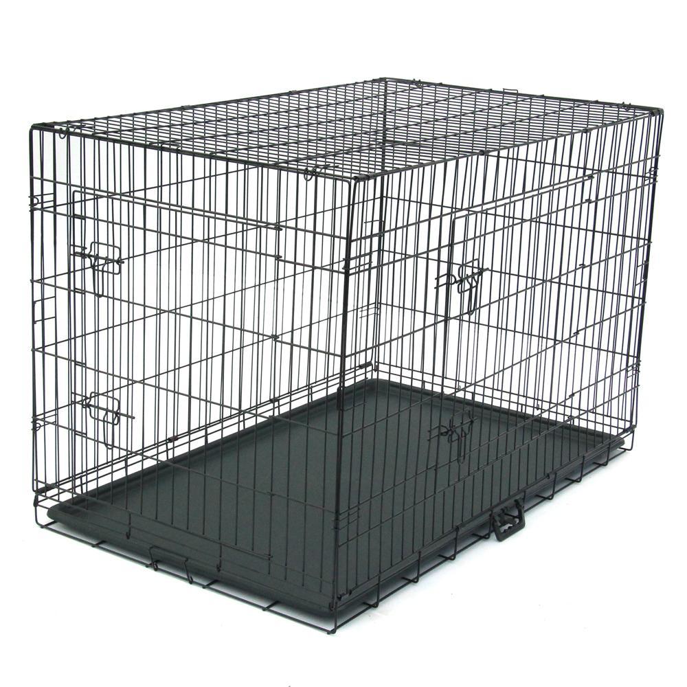 Caja de perro WACO | Casas de perros de metal de doble puerta extra-fuertes, pies de rodillo Plas para fugas PLAS DIVIDER PLANO PROTECTOR PROTECTOR DE PEROÑO NEGRO