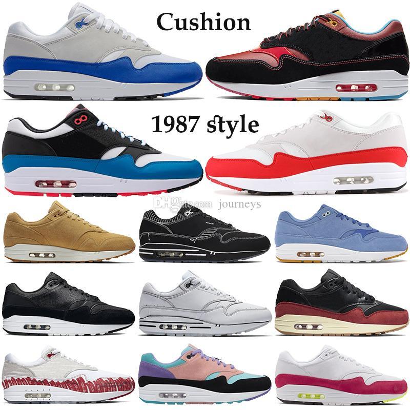 Nouveau meilleur 1987 de style Chaussures de course Hommes Femmes 87s coussin rouge Formateurs anniversaire bricoler royal sport blanc noir Chinatown de New York Sneakers