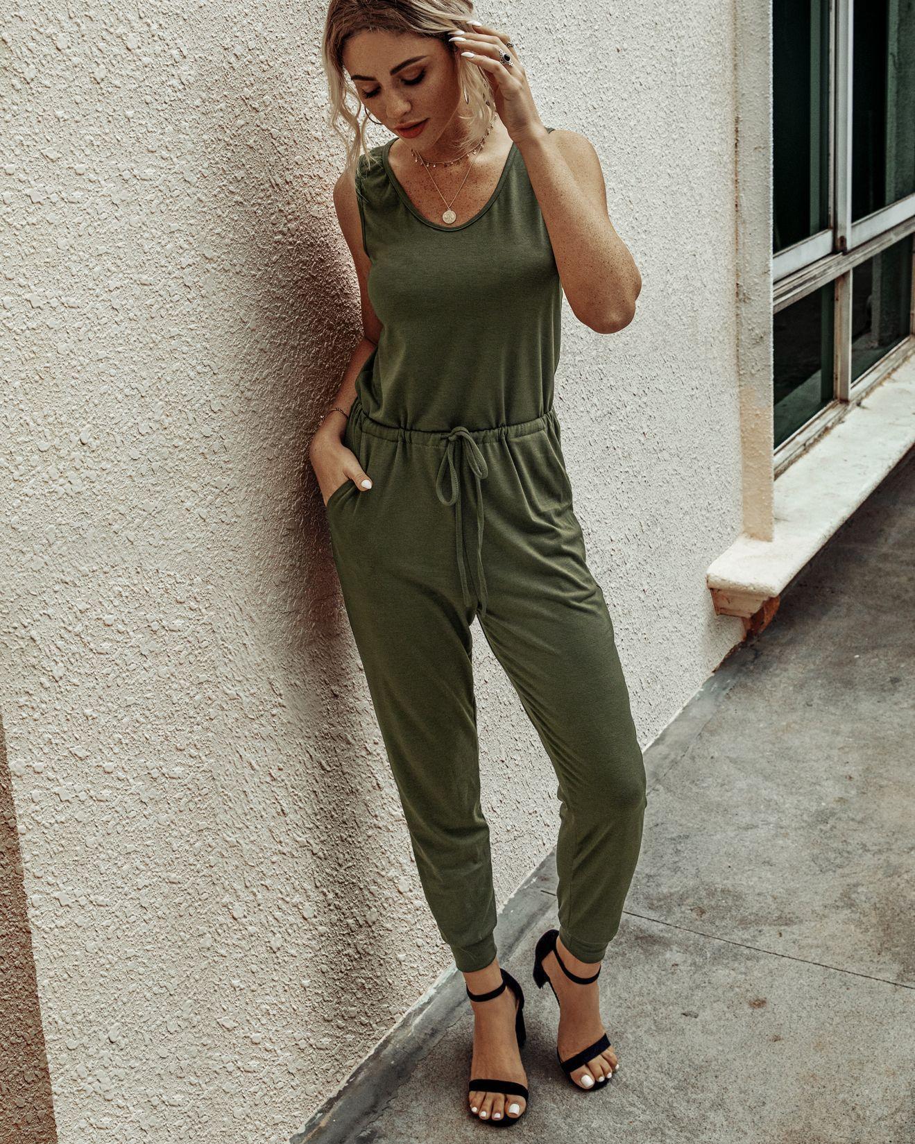 Best Selling 2020 Moda rotonda estiva Neck Vest Lace-up delle donne solide colori siamesi Pantaloni S202lky009