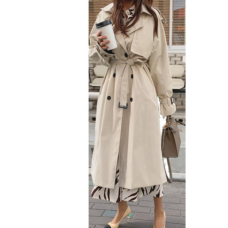 2020 New Autumn Spring Fashion Women Coat Korean Windbreaker Female Plus Size Double Breasted Ladies Long Chic Trench Coats L99