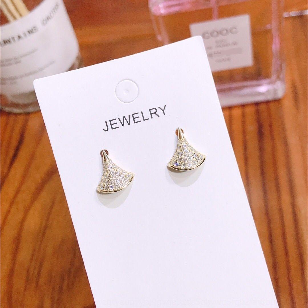 Nuovo gioielli in argento sterling diamante pieno a forma di ventaglio di diamante TikTok PTEE0195 con orecchini e orecchini S925 bFVp6
