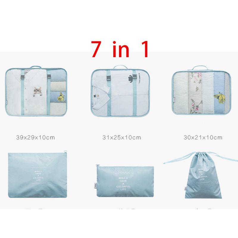 7 تعيين جهاز كمبيوتر شخصى التعبئة منظم الملابس حقيبة الملابس الداخلية الحذاء السفر أكياس الاكسسوارات تخزين الأمتعة منظم أكياس الملابس التعبئة