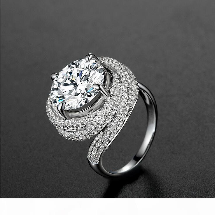 Tamanho 5-11 Ajuste Pave Redonda Cut 3CT Luxury Jewelry Dedo prata esterlina 925 Engagement branco Topaz CZ Diamante presente de casamento anel personalizado