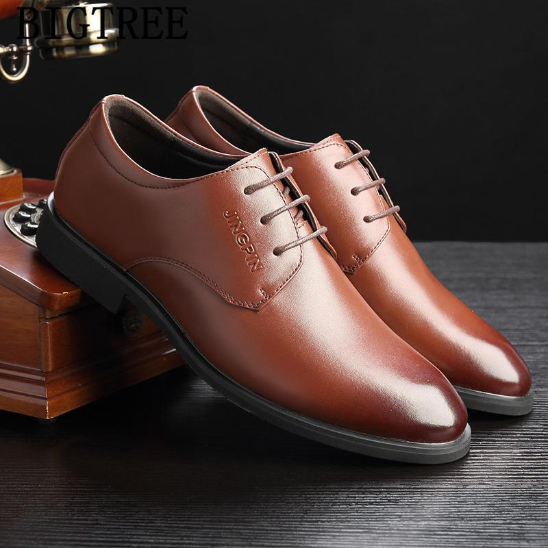 Escritório Shoes Men clássico Luxo Mens Negócios sapatos formal de couro genuíno 2020 Brown Vestido Coiffeur elegante para homens Buty