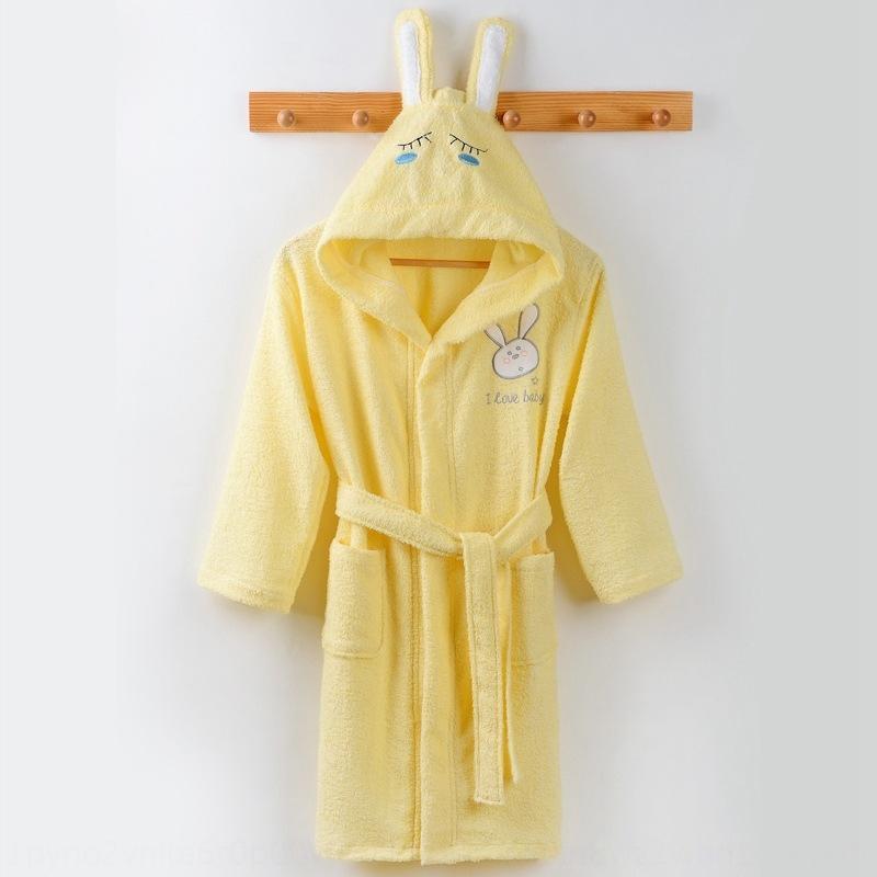 tAC4m Pure Cotton children's bathrobe boys' and girls pajamas Bathrobe pajamas ' nightgown with cap thin summer towel baby swimming cloak cl