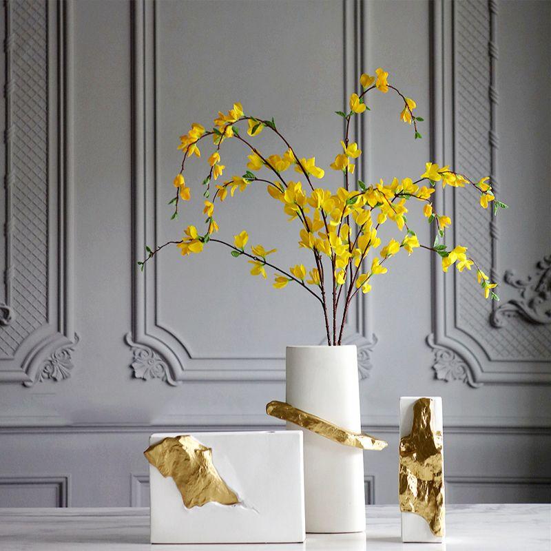 Creative-Gold und weiße Rechteck Keramik Vase Dekorative Crafts Blumenvasen hydroponischen Blumen für Haus Hochzeitsdeko Getrocknete