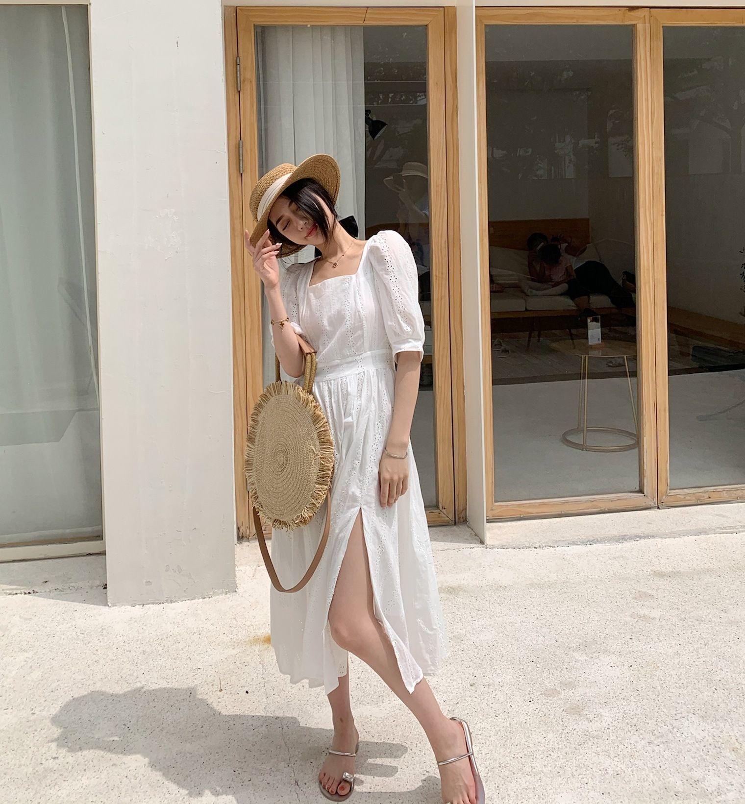jFieJ Square collar bubble grandiflorum white split hollow light mature style fairy French Platycodon sleeve temperament dress dress summer w