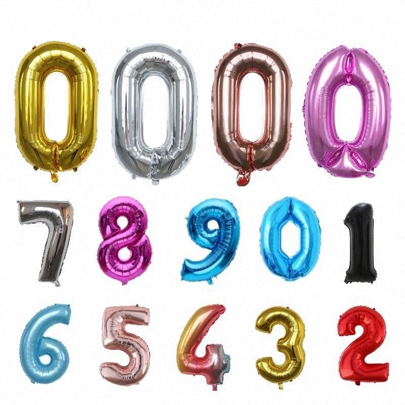 32 PULGADAS Globo Feliz Cumpleaños deshierbe celebración gradual Partido revestimiento de aluminio circular fuente de la decoración globos números del 0 al 9 GH TECX #